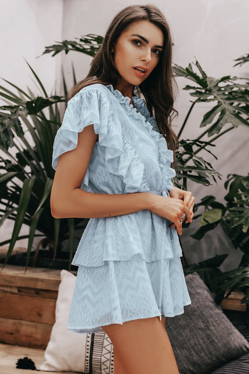 GEOMETRIC SUPER-RUFFLE PLAYSUIT