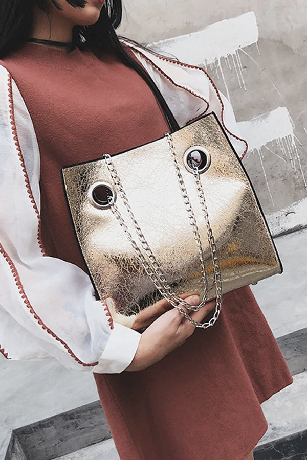 GOLD CRACKED LEATHER TOTE BAG
