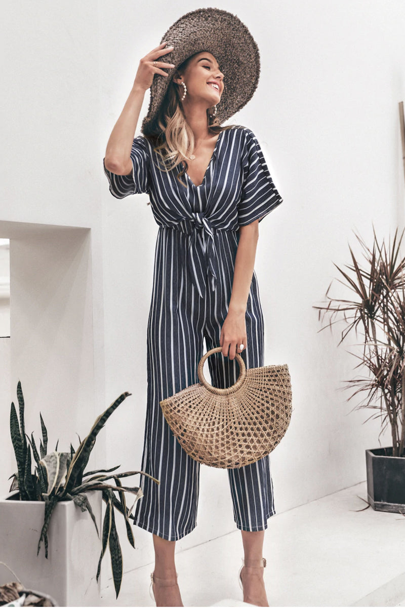 RETRO STRIPED CULOTTE JUMPSUIT