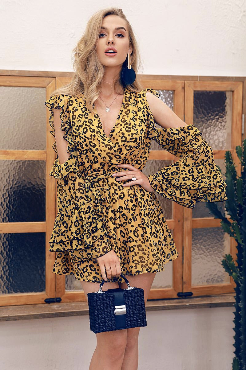 TRIXIE SUPER FLOUNCE LEOPARD PRINT PLAYSUIT