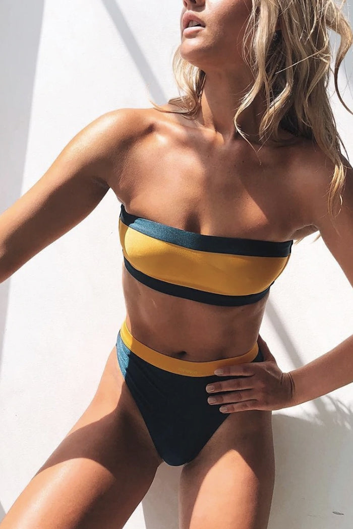 CELINE GREEN & YELLOW BANDEAU HIGH-WAISTED TWO-PIECE