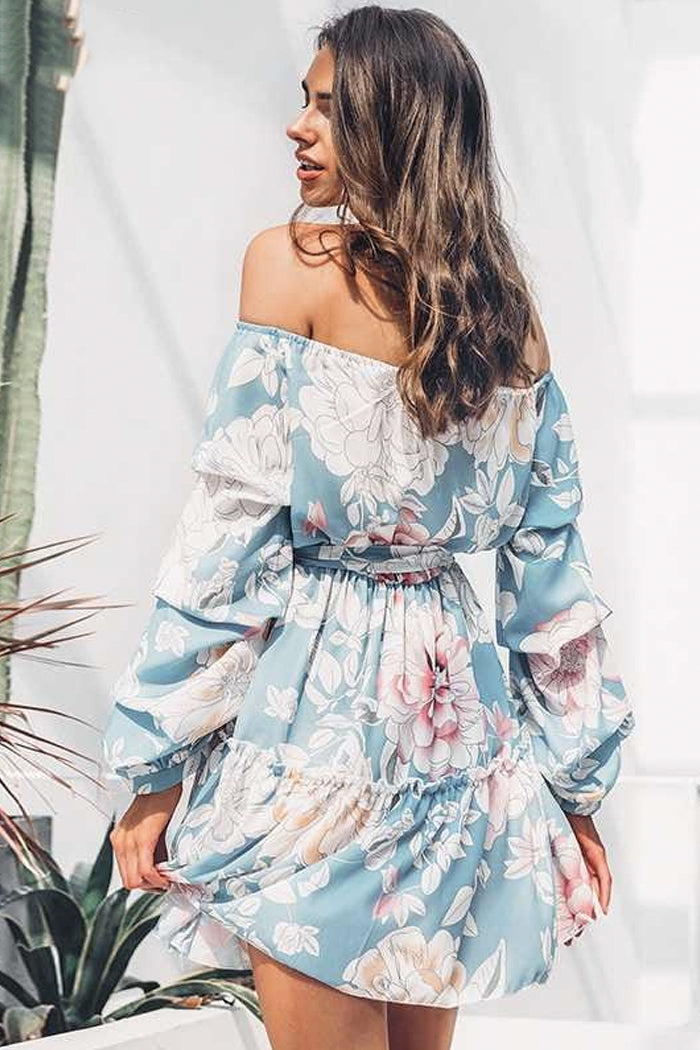 PATSY PASTEL FLORAL OFF-THE-SHOULDER RUFFLE DRESS