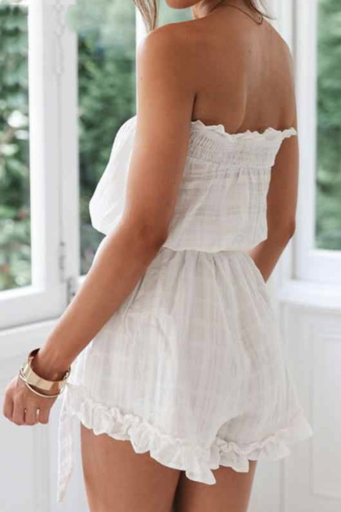 BANDEAU RUFFLED LINEN PLAYSUIT
