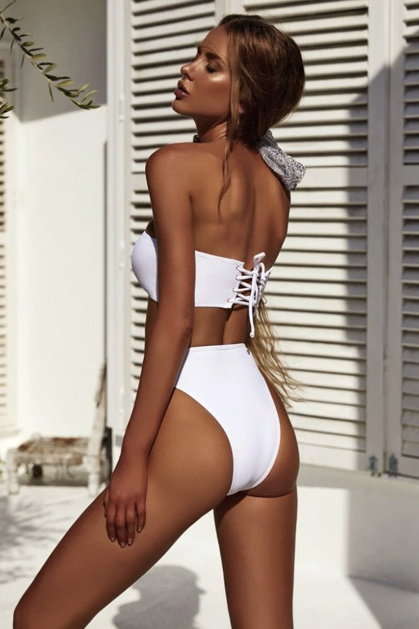 ALLY WHITE BANDEAU HIGH-CUT BIKINI
