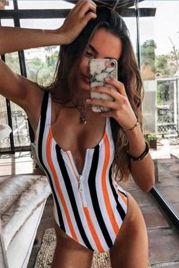 XANTHIPPE BACKLESS STRIPED BATHING SUIT