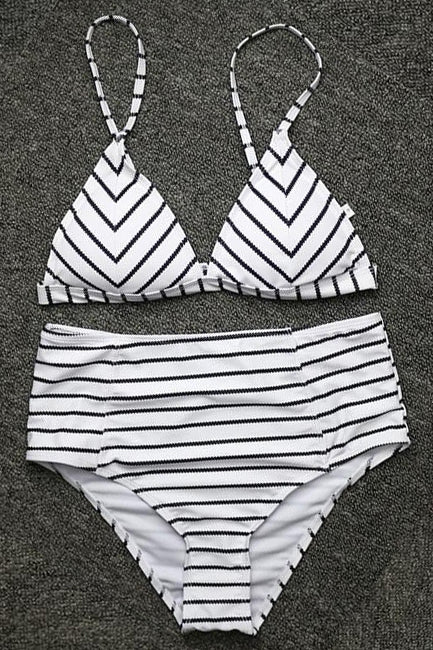 DINAH RETRO HIGH-WAISTED STRIPED BIKINI