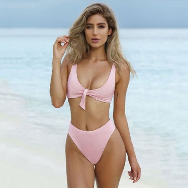BROOKLYN DUSTY PINK BOW-KNOT SOLID BIKINI