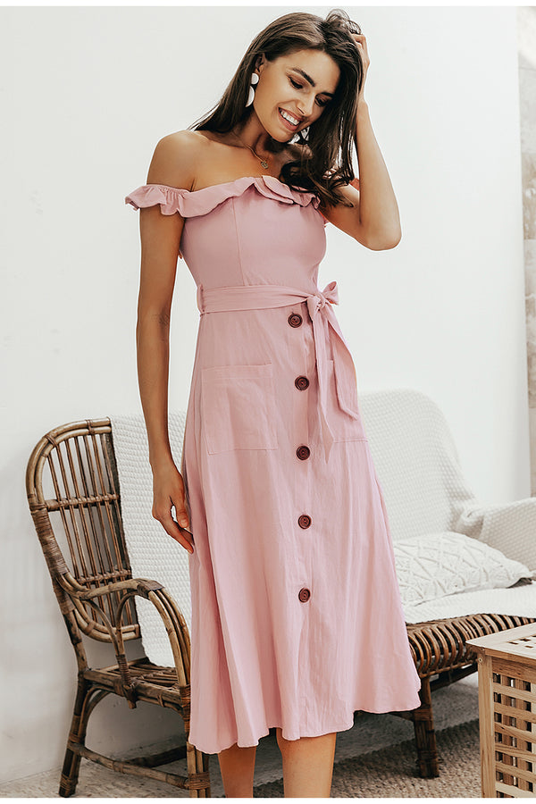 RETRO OFF-THE-SHOULDER MIDI DRESS