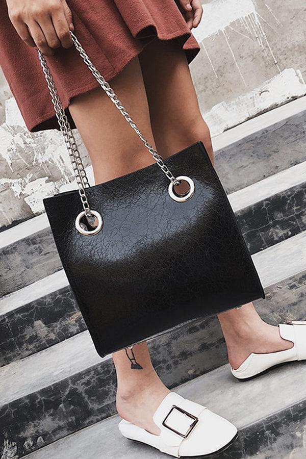 BLACK CRACKED LEATHER TOTE BAG