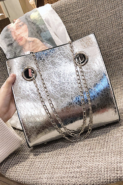 SILVER CRACKED LEATHER TOTE BAG