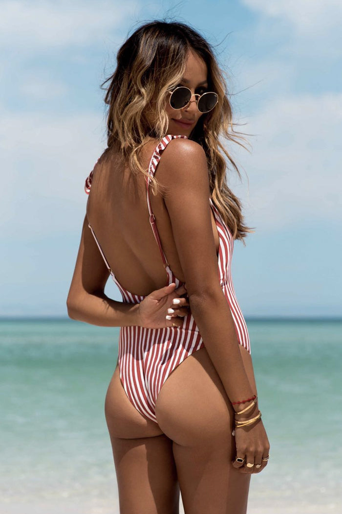 STRIPE RUFFLED SHOULDER ONE-PIECE