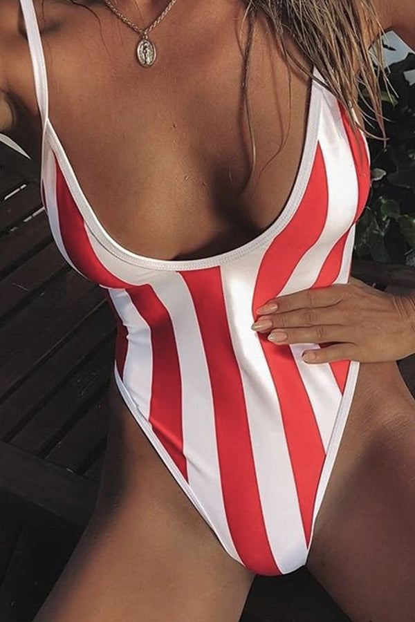 FELICITY BACKLESS STRIPED ONE-PIECE