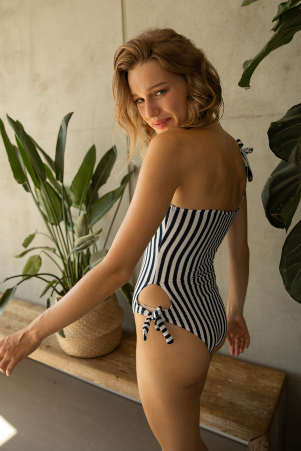 CARLI STRIPED ONE-PIECE SWIMSUIT