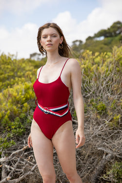 LILY RETRO BELTED ONE-PIECE