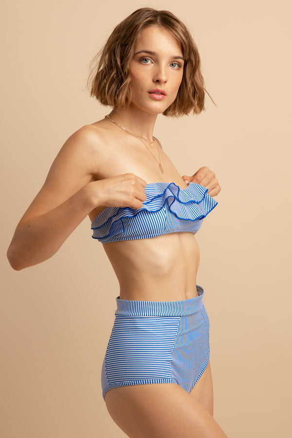 Evadine Retro Ruffled High-Waist Bikini