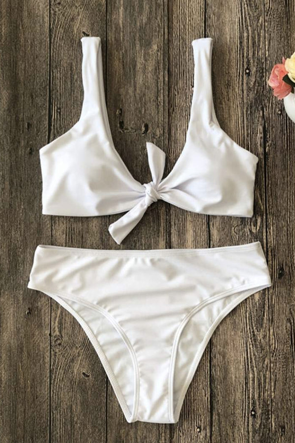 BROOKLYN WHITE BOW-KNOT SOLID BIKINI