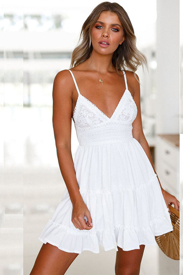 FABIA WHITE TIE-BACK BEACH DRESS