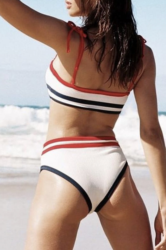 NIEVES SPORTY STRIPED HIGH-WAISTED TWO-PIECE