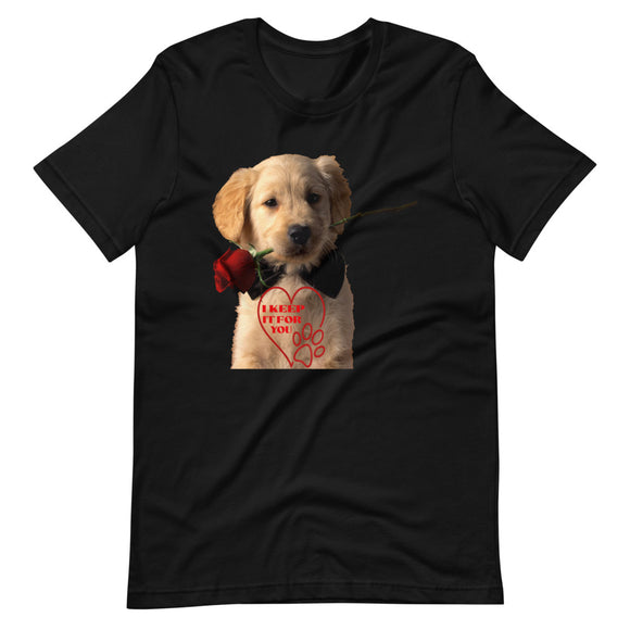 Sweet Puppy | Love a Dog | Birthday Gift | Dog | Roses |  Man's Best Friend | Dog T-Shirt | Black Cotton T-Shirt | Short-Sleeve Unisex T-Shirt