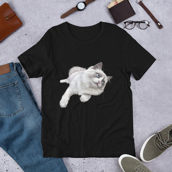 Cat T-Shirt | Cute Cat | Playful Kitten | Black T-Shirt | Cat Lovers | Cat Gift | Birthday Cat |Short-Sleeve Unisex T-Shirt