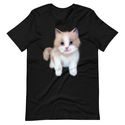 Cat t-Shirt | Black Cotton T-Shirt | Cute Cat | Cute Kitten | Unisex Short Sleeve T-Shirt | Cat Lovers T-Shirt | - Storex Sale