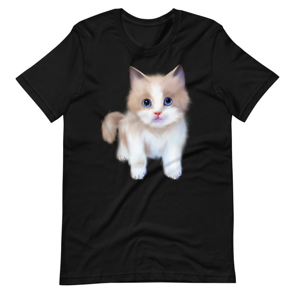 Cat t-Shirt | Black Cotton T-Shirt | Cute Cat | Cute Kitten | Unisex Short Sleeve T-Shirt | Cat Lovers T-Shirt |