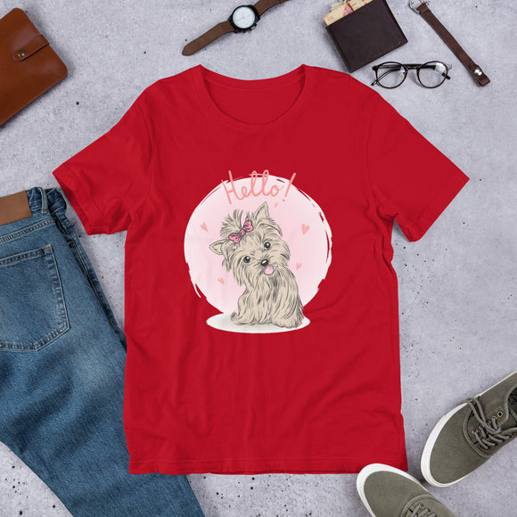 Red Cute Yorkie Shirt | Dog Lover Shirt | Gift For Dog Lover | I Love Yorkies | Unisex Novelty Shirt |