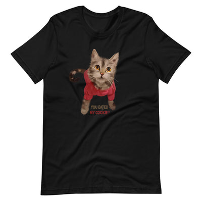 Cat T-Shirt | Cat Lover Gift | Black Cotton T-Shirt | Cute Cat | Design T-Shirt | Short-Sleeve Unisex T-Shirt - Storex Sale