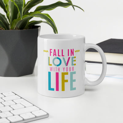 Mug, Fall In Love With Your Life, Romantic, Love Typography, Happy Valentines day, Sweetheart, Love, Valentine, love you, Valentine gift, Lovely, Colorful gift,  Beloved, Heart - Storex Sale