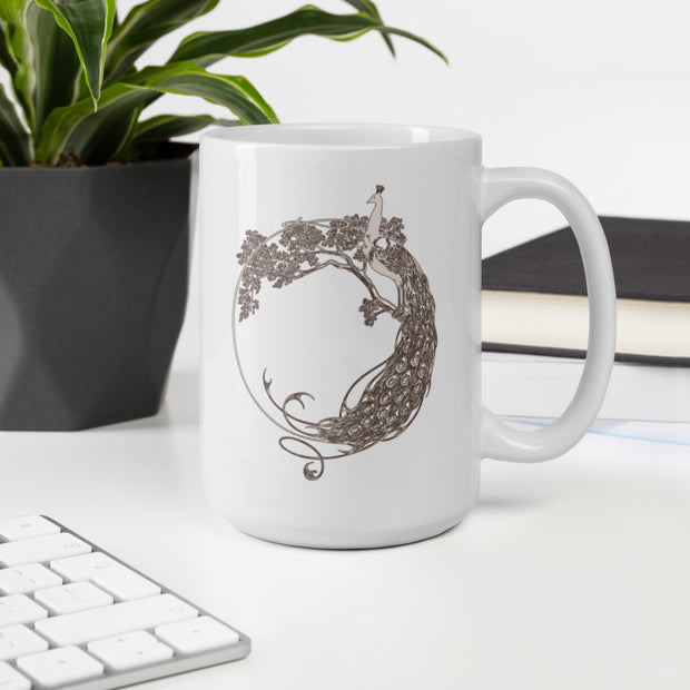 Peacock Mug design, White Peacock, Hand draw Peacock, Lovely Peacock, Feathered friend, Lovely bird, Birthday gift, Nice gift, Artistic, Peacock feather, - Storex Sale
