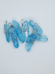 Aqua Aura Quartz Wire Wrapped Necklace