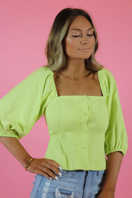NEON NIGHTS PUFF SLEEVE TOP