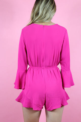 BUBBLE GUM BELL SLEEVE ROMPER