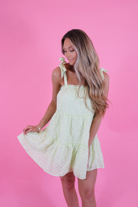 IN THE LIMELIGHT EYELET DRESS
