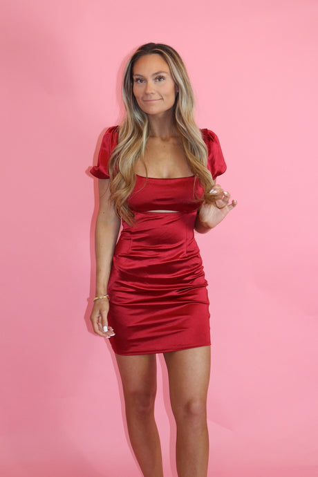 RUBY RED CUT-OUT DRESS