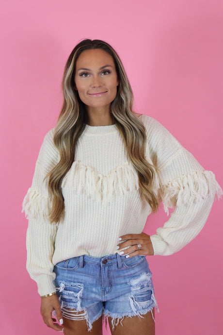 TOASTED MARSHMALLOW FRINGE SWEATER