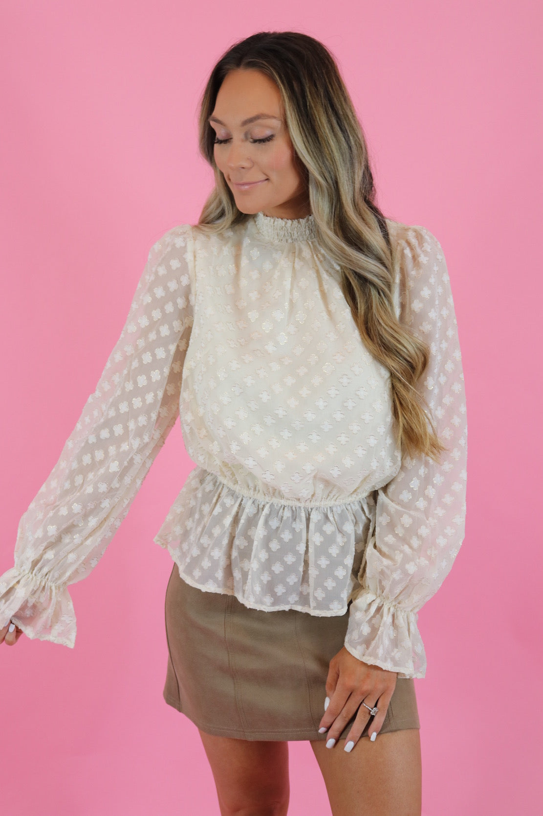 IVORY PEPLUM TOP
