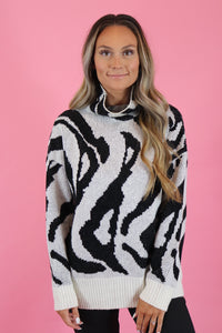 ZEBRA PRINT HIGH NECK SWEATER
