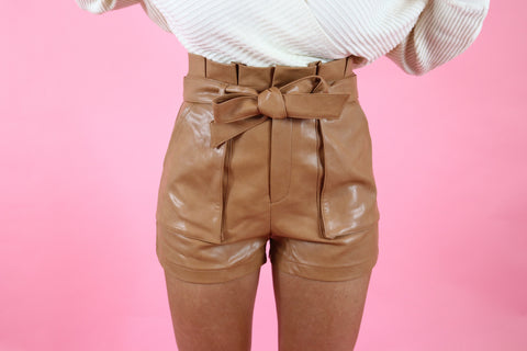 VEGAS BOUND VEGAN LEATHER SHORTS