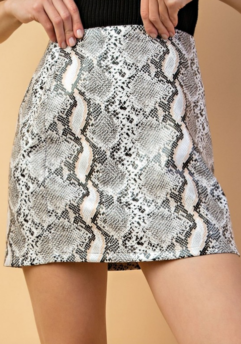 IN THE WILD SNAKESKIN MINI SKIRT