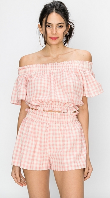 TICKLED PINK GINGHAM SET