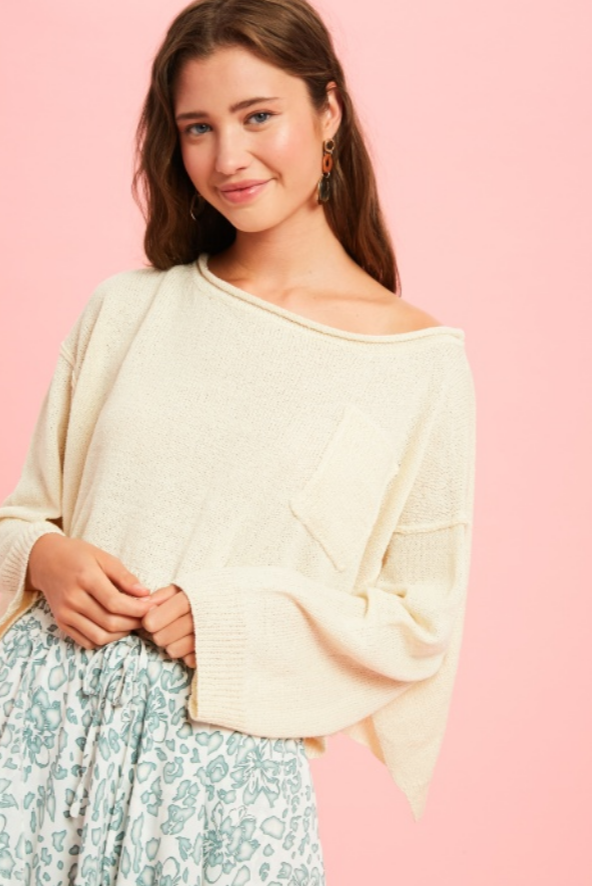 SWEET CREAM CROP SWEATER