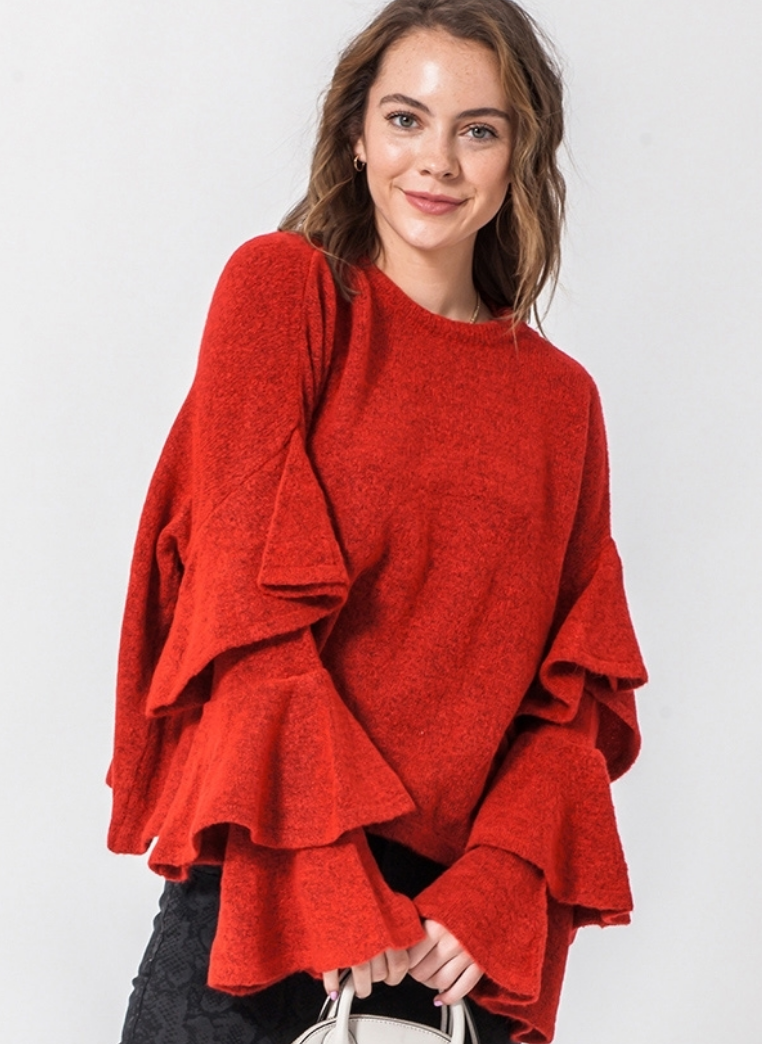 NAUGHTY OR NICE RUFFLE SLEEVE TOP