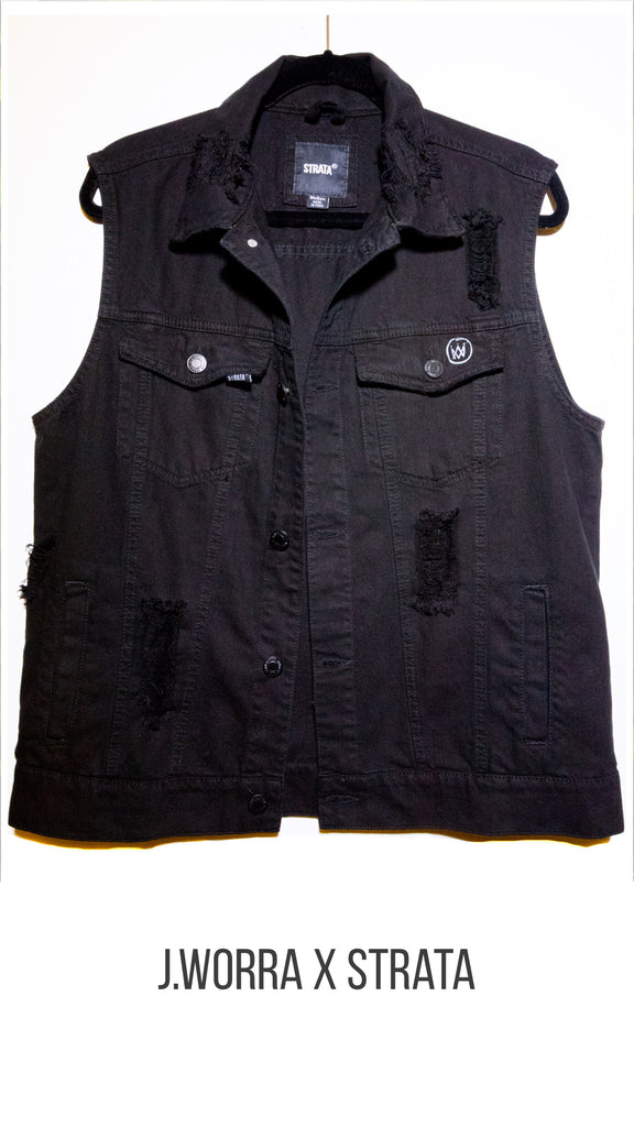Repeat After Me Black Denim Vest