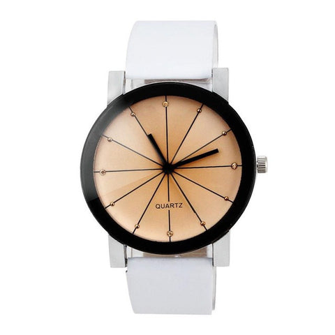 GENVIVA High Quality Quartz Dial Clock Stainless Steel Leather
