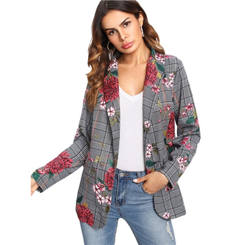 SHEIN Plaid Blazer Women Long Sleeve Womens Colored Fashion Blazer Multicolor Shawl Collar Pocket Casual Floral Blazer