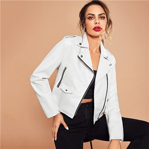 SHEIN White Rock Office Lady Pocket Asymmetric Zip Placket Biker Jacket Autumn Workwear Modern Lady Women Coat Outerwear