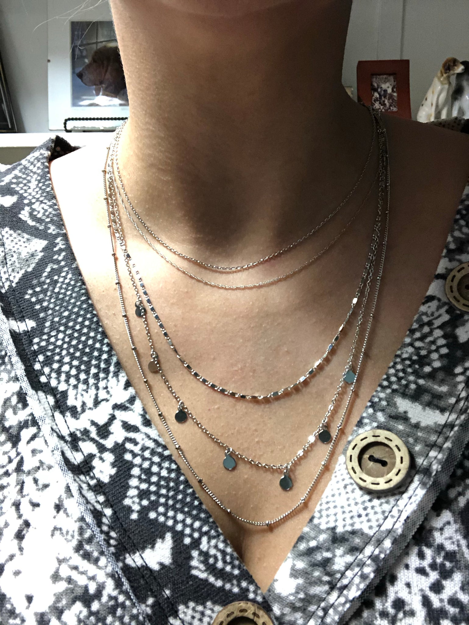 5 Layered Silver Necklace