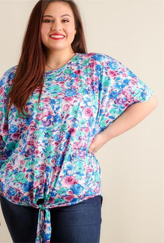 Plus Floral Tie Top