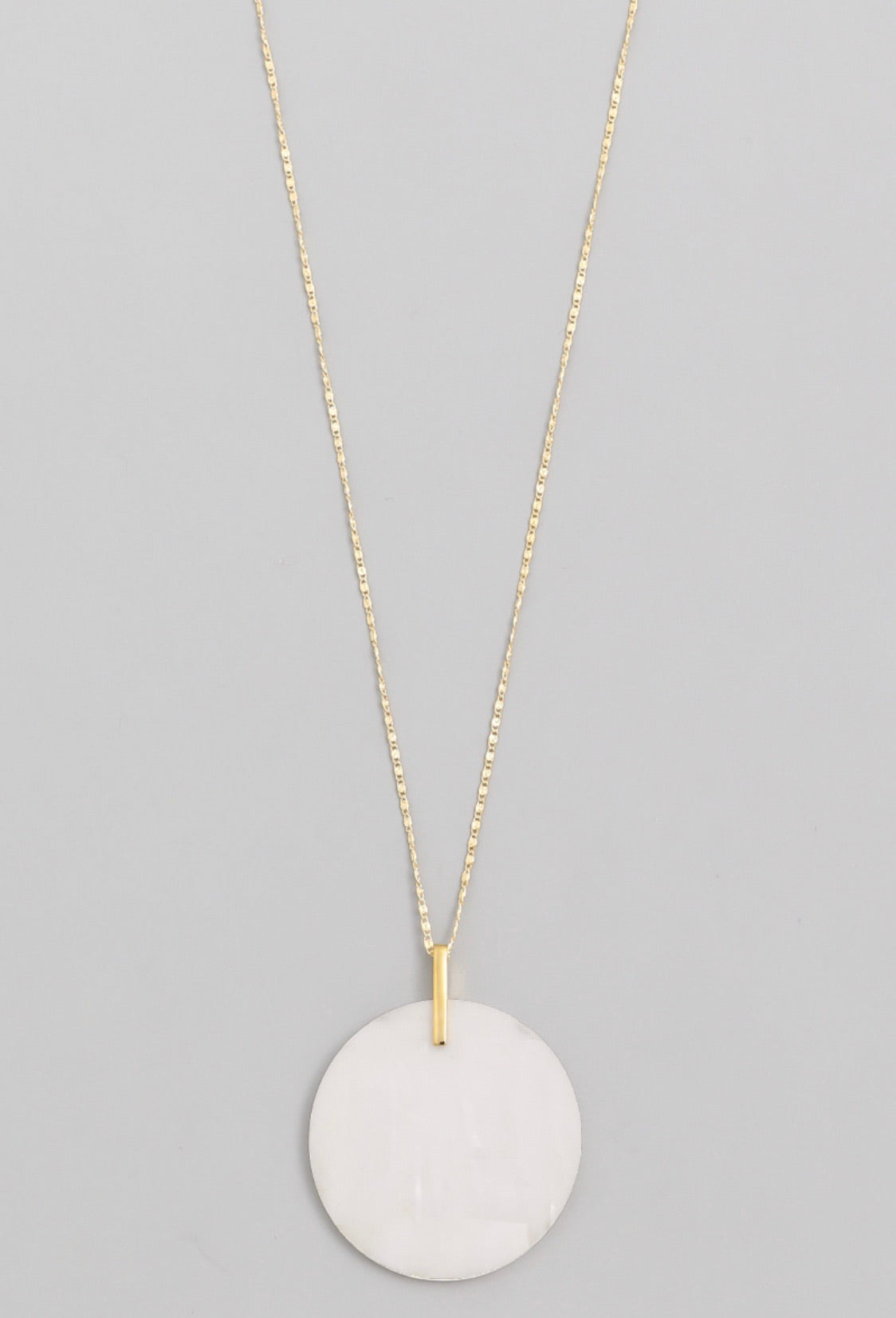 White Circle Disc Pendant